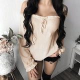 ByChicStyle Khaki Ruffle Boat Neck Long Sleeve Honey Girl Blouse