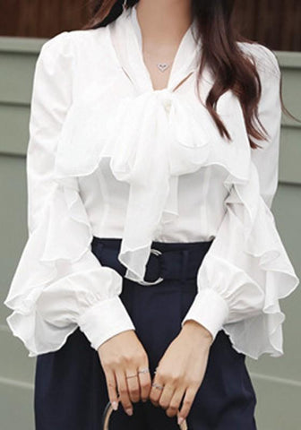 White Draped Ruffle Peter Pan Collar Long Sleeve Office Worker Blouse
