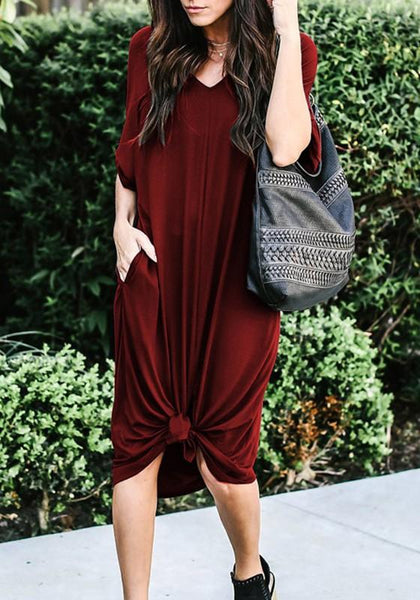 Red Pockets Irregular Ruffle V-neck Casual Midi Dress