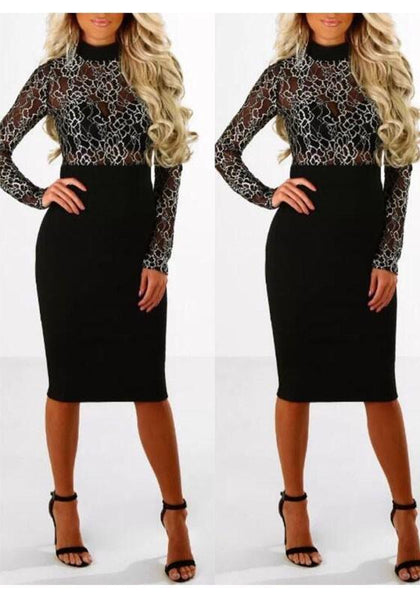 Black Patchwork Lace Grenadine Band Collar Long Sleeve Bodycon Party Midi Dress