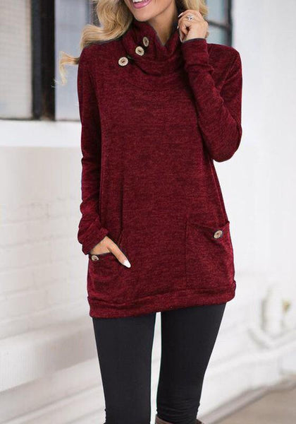 Red Pockets Buttons Cowl Neck Long Sleeve T-Shirt