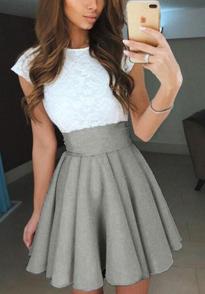 Grey Pleated Sewing High Waisted Fashion Slim Skirt
