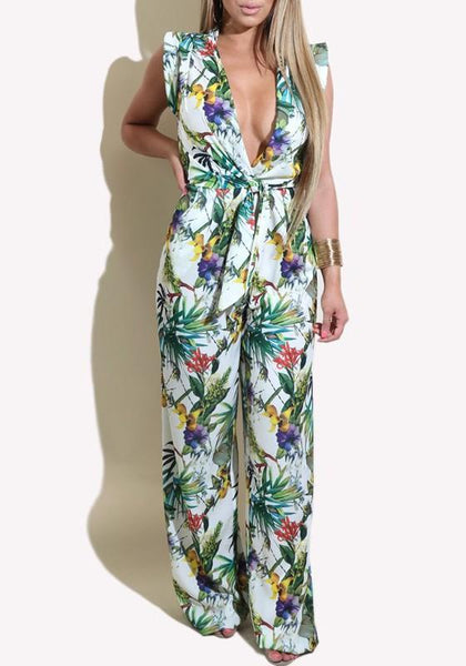 White Floral Sashes Pleated Deep V-neck Bohemian Beach Wide Leg Long Jumpsuit
