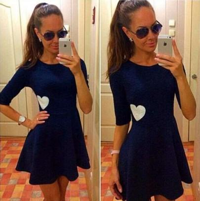 Casual New Women Navy Blue Plain Heart Print Round Neck Short Sleeve Cute Mini Dress