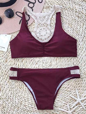 Casual Harmony Lace Red Wine Color Bikini Set