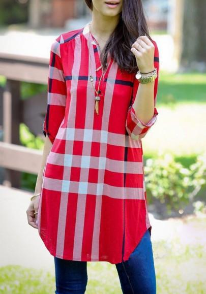 Casual New Women Red Plaid Buttons Irregular V-neck 3/4 Sleeve Casual Loose Mini Dress