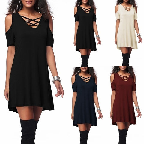 New Arrival Fashion Sexy Bohemian Women Off Shoulder Short Sleeve Loose Dress Hot Sale