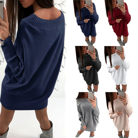 Women Autumn Winter Casual Long Sleeve Sweater Dress Loose Knitted Oversized Streetwear Pullover