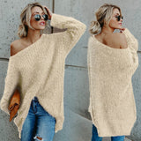 ByChicStyle Women Fashion Pure Color Plus Size Pullover Long Sleeve Irregular Loose Sweater