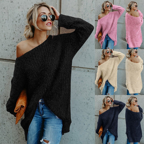 Women Fashion Pure Color Plus Size Pullover Long Sleeve Irregular Loose Sweater