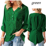 ByChicStyle Ladies Solid Cuffed Sleeve Lace Panel Casual Blouses Tops S-3XL