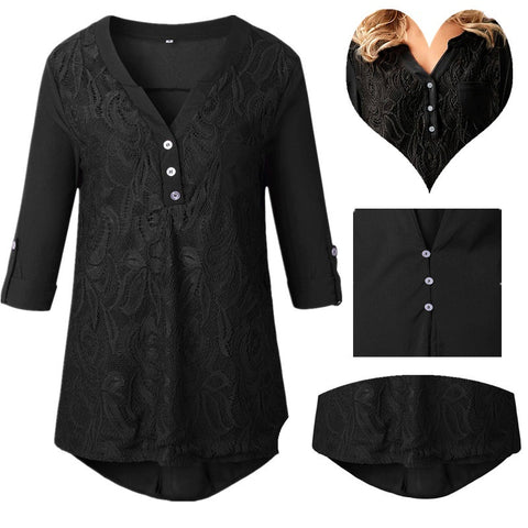 Ladies Solid Cuffed Sleeve Lace Panel Casual Blouses Tops S-3XL