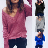 ByChicStyle Autumn Spring Long Sleeve Casual Loose V Neck Sexy Off Shoulder Pullover T-Shirt Tops