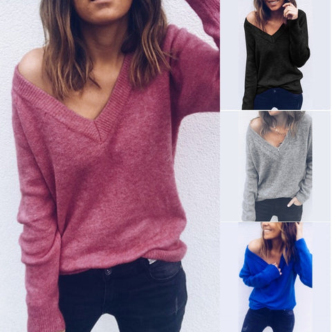 Autumn Spring Long Sleeve Casual Loose V Neck Sexy Off Shoulder Pullover T-Shirt Tops