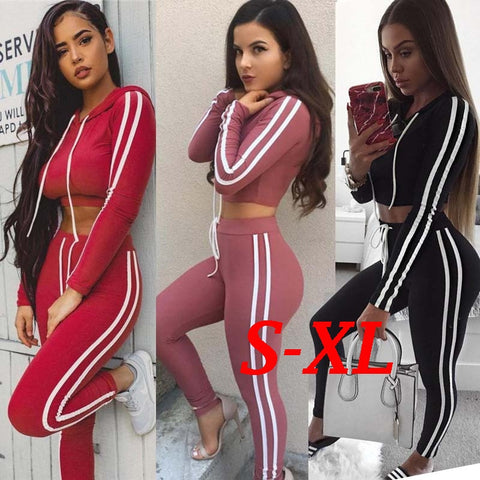 Women's Fashion Autumn and Spring Sport Long Sleeve Casual Suit Lady Fashion Hooded Sweatshirt