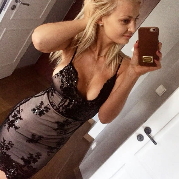 Sexy Women Deep V-neck Halter Harness Dress Sequin Nightclub Dress Slim Fit Maxi Dress