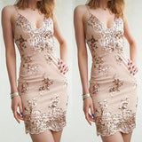 ByChicStyle Sexy Women Deep V-neck Halter Harness Dress Sequin Nightclub Dress Slim Fit Maxi Dress