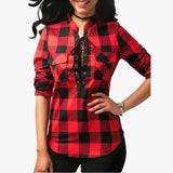 ByChicStyle S-2XL Sexy Ladies Deep V Neck Cross Pocket Lattice Shirt Print Folds Long Sleeve Grid Tops