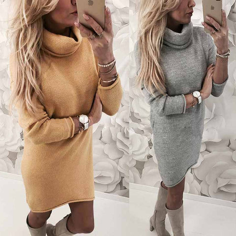 Women Casual Winter Clothing Warm Long Sleeve Loose Pullover Knitting Dresses