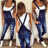 ByChicStyle Casual Fashion Denim Wash Overall Women Jeans Jumpsuit Long Pants Rompers Sexy Jumpsuit