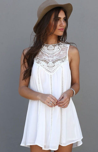 Beach Style Summer Women Casual Sleeveless White Short Mini Dress