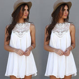 ByChicStyle Beach Style Summer Women Casual Sleeveless White Short Mini Dress