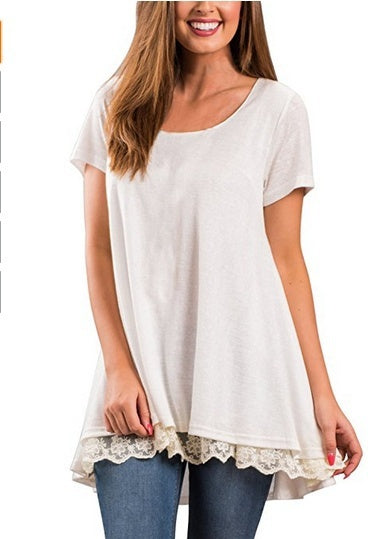 Womens Fashion Plus Size Casual Short Sleeve Lace Hem Scoop Neck A Line Cotton Tunic Blouse S-5XL