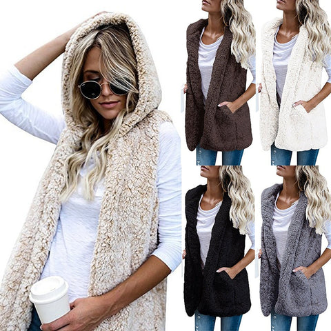 5 Color 2018 Fashion Winter Warm Solid Color Pocket Woolen Hooded Coat