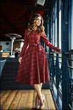 ByChicStyle New Arrival Women Sexy Vintage Long Sleeve Plaid Cocktail Evening Party Long Dress