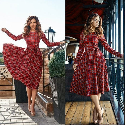 New Arrival Women Sexy Vintage Long Sleeve Plaid Cocktail Evening Party Long Dress