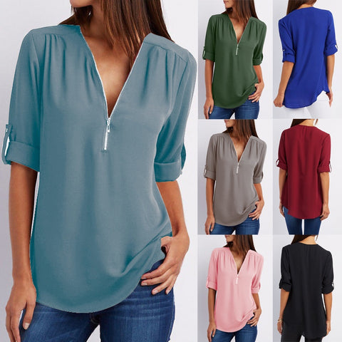 Loose Chiffon Half Sleeve Slim Fit Blouses Zippers V-neck T-shirt Plus Size Loose Solid Women Tops
