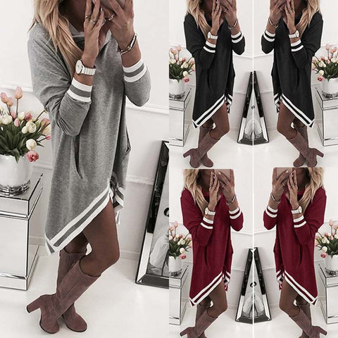 Women Fashion Stripe Heaps Collar Long Sleeve Short Dress Casual Loose Hoodie Dress