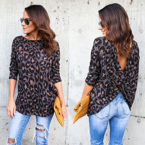 Women Ladies Sexy Leopard Pattern T Shirts Knot Twist Backless Long Sleeve Tee Tops