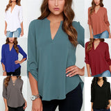 ByChicStyle Women Pleated Long Sleeve Shirt V Neck Solid Tee Blouse Plus Size Pure Color Casual Chiffon Blouse