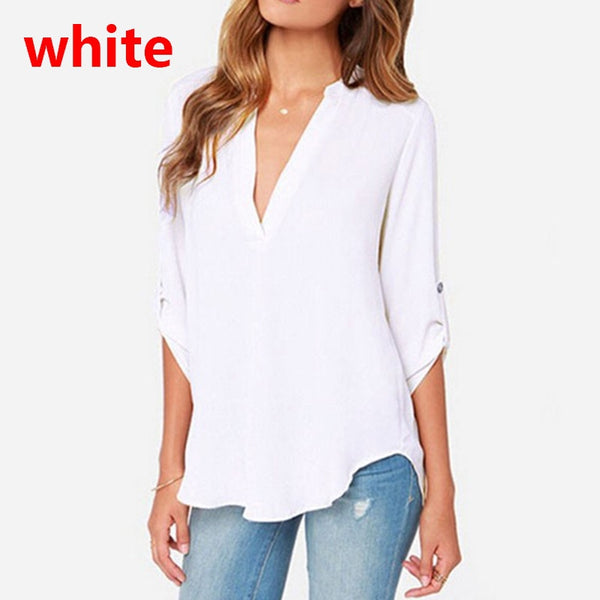 Women Pleated Long Sleeve Shirt V Neck Solid Tee Blouse Plus Size Pure Color Casual Chiffon Blouse