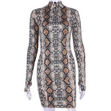ByChicStyle Fashion Women Long Sleeve Package Hip Bodycon Serpentine Evening Party Cocktail Short Mini Dress