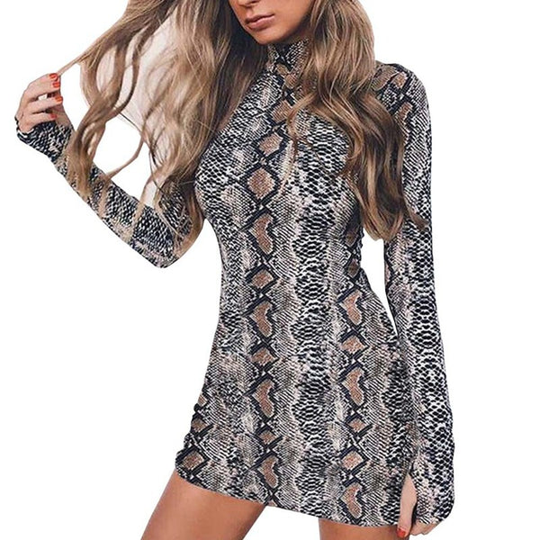 Fashion Women Long Sleeve Package Hip Bodycon Serpentine Evening Party Cocktail Short Mini Dress