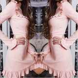 ByChicStyle Casual Fashion Spring Solid Color Lotus Leaf Skirt Long Sleeve Dress