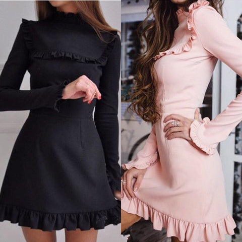 Casual Fashion Spring Solid Color Lotus Leaf Skirt Long Sleeve Dress