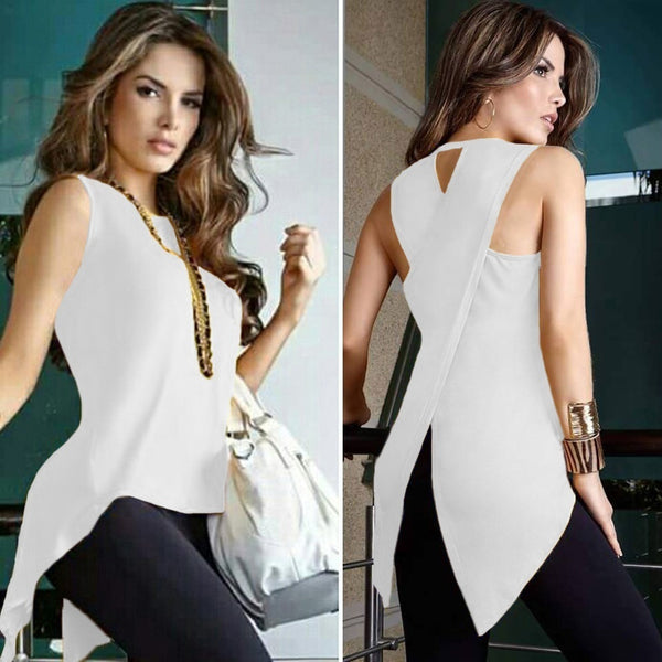 Women Sexy Sleeveless Solid Color Round Neck Slim Fit Irregular Patchwork Blouse Vest Tank Tops