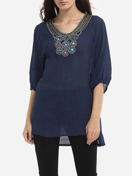 Casual Beading V Neck Dacron Assorted Colors Printed Blouse