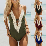 ByChicStyle Low-cut Women's Sexy Lace-up V-neck Bodycon Bikinis One Piece Bathing Suits Monokini