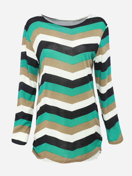 Casual Round Neck Dacron Striped Long-sleeve-t-shirt