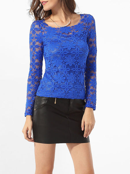 Round Neck Lace Floral Hollow Out Plain Blouse - Bychicstyle.com