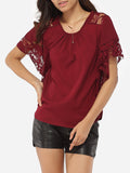 ByChicStyle Casual Batwing Round Neck Chiffon Lace Hollow Out Lace Patchwork Plain Blouse