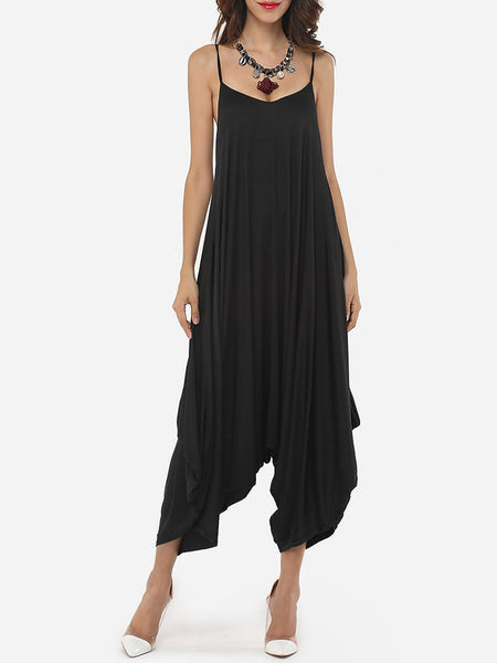 Plain Loose Fitting Modern Awesome Jumpsuits - Bychicstyle.com