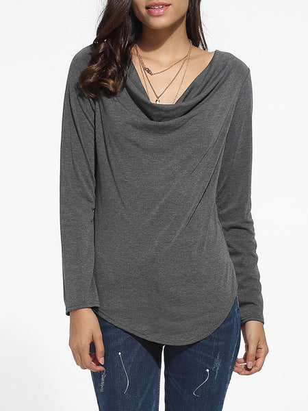 Casual Asymmetrical Hems Cowl Neck Cotton Plain Long-sleeve-t-shirt