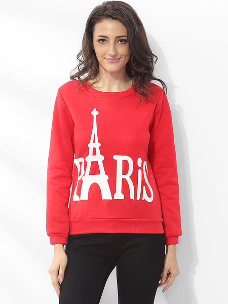 Casual Round Neck Dacron Letter Printed Sweatshirt