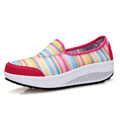 Casual Canvas Stripe Rainbow Rocker Sole Shook Platform Shoes