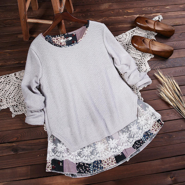 Casual Sweet Lady Floral Lace Stitching Knit Blouse